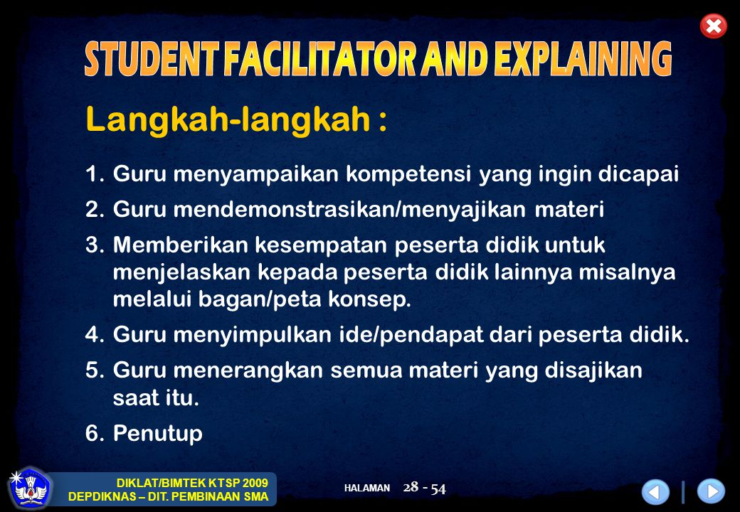STUDENT FACILITATOR AND EXPLAINING