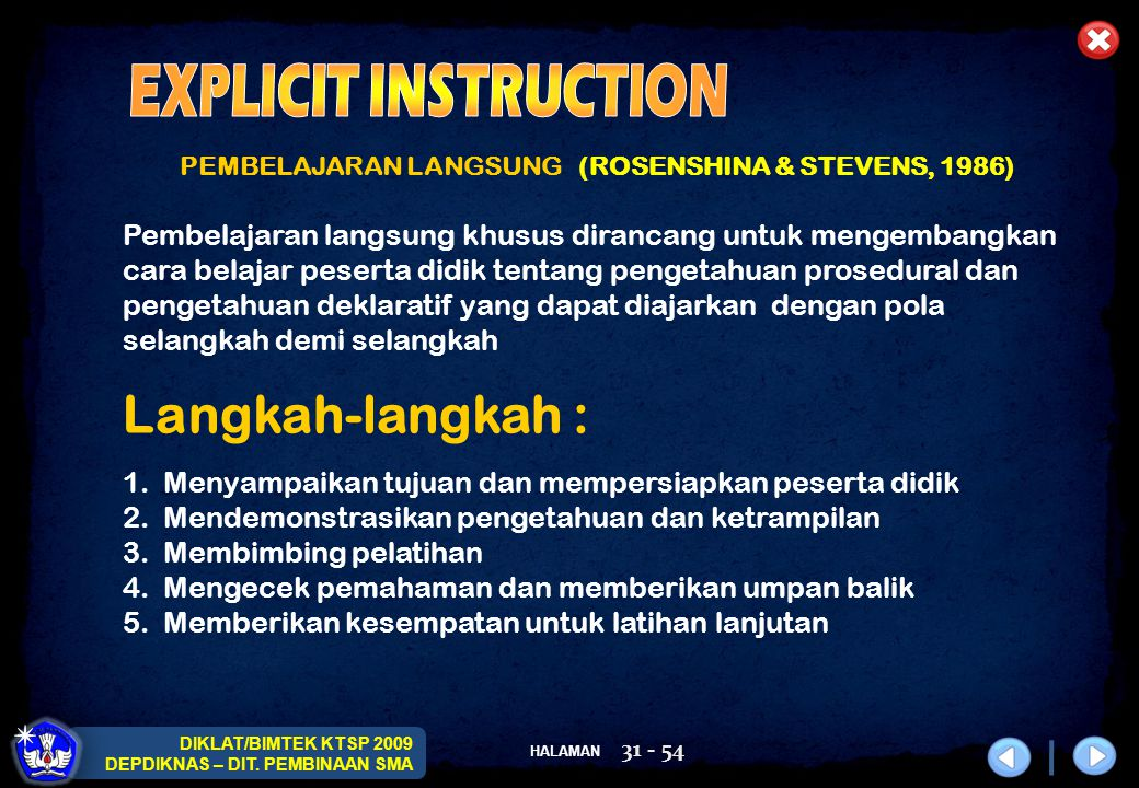 EXPLICIT INSTRUCTION Langkah-langkah :