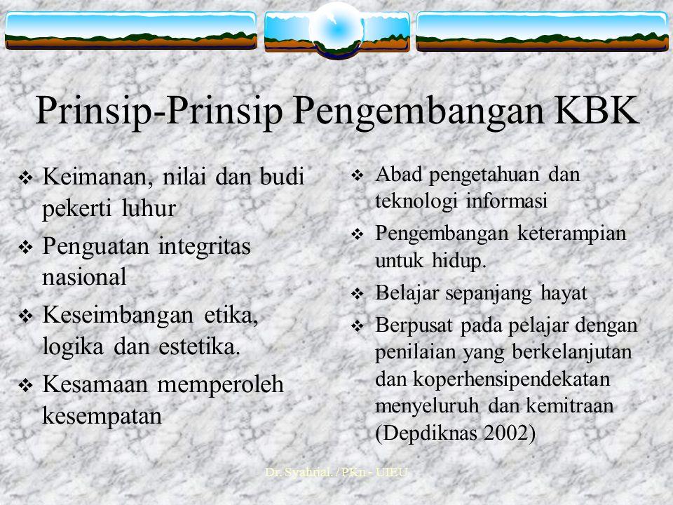 Prinsip-Prinsip Pengembangan KBK