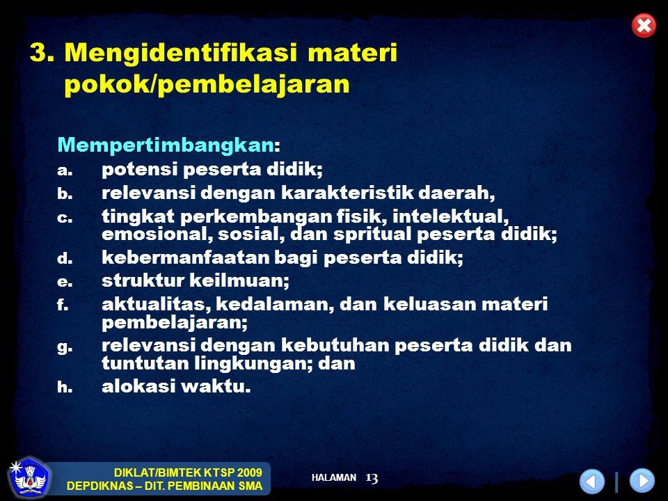 3. Mengidentifikasi materi pokok/pembelajaran