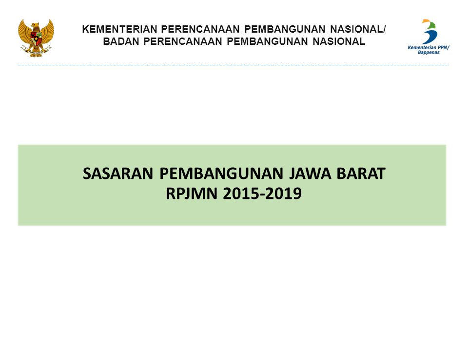 SASARAN PEMBANGUNAN JAWA BARAT RPJMN 2015-2019
