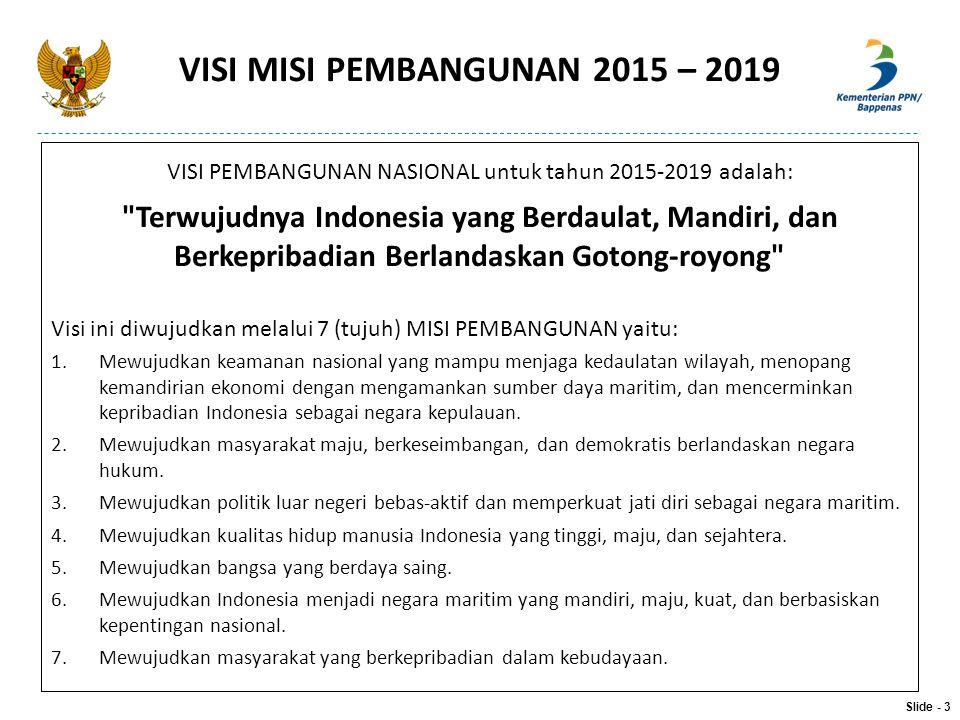 VISI MISI PEMBANGUNAN 2015 – 2019