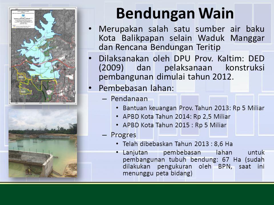 Bendungan Wain Merupakan salah satu sumber air baku Kota Balikpapan selain Waduk Manggar dan Rencana Bendungan Teritip.