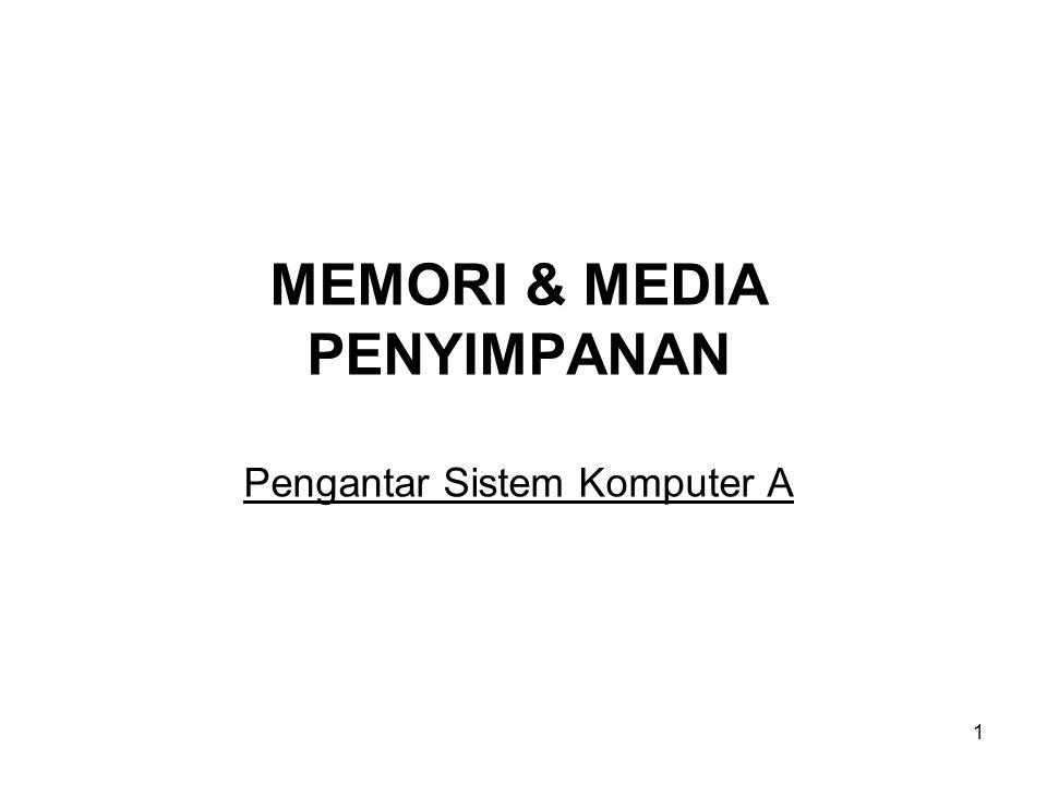 MEMORI & MEDIA PENYIMPANAN Pengantar Sistem Komputer A