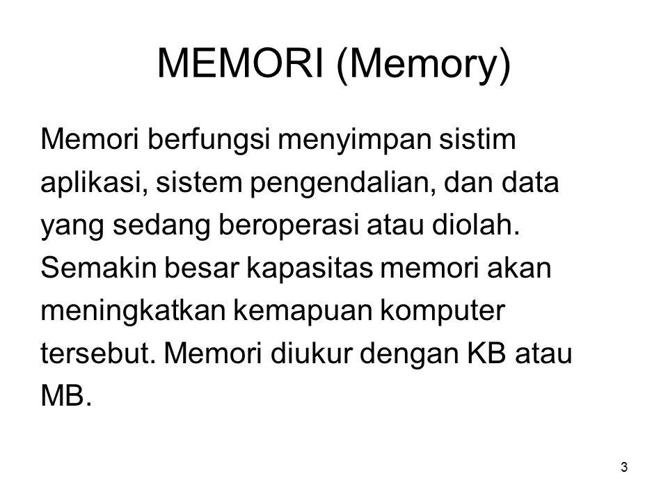 MEMORI (Memory) Memori berfungsi menyimpan sistim