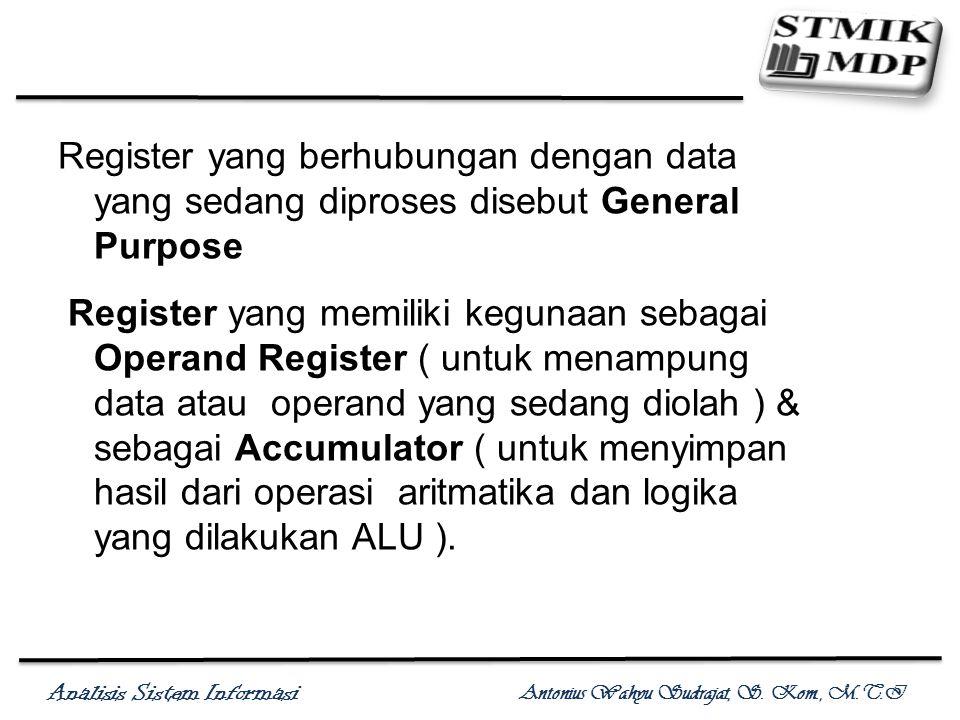 Register yang berhubungan dengan data yang sedang diproses disebut General Purpose