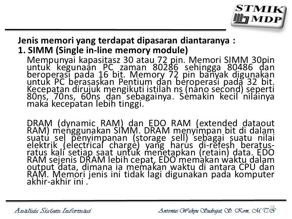 Jenis memori yang terdapat dipasaran diantaranya :