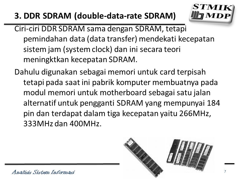 3. DDR SDRAM (double-data-rate SDRAM)