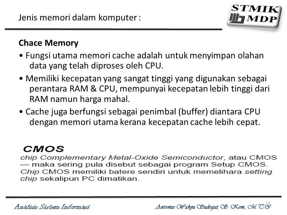 Jenis memori dalam komputer :