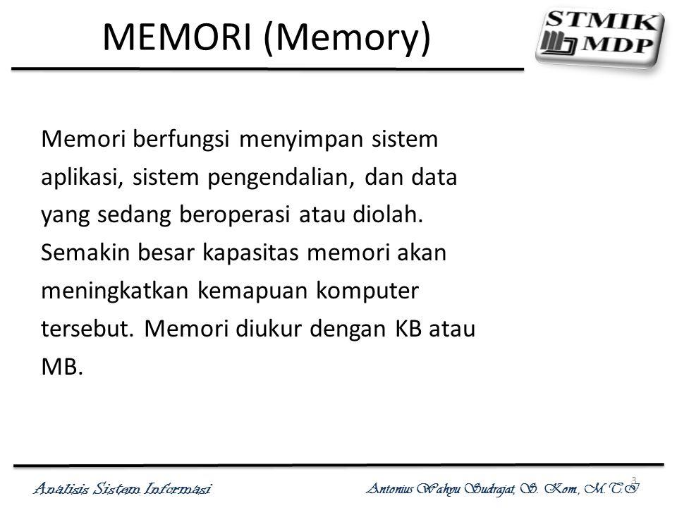 MEMORI (Memory) Memori berfungsi menyimpan sistem