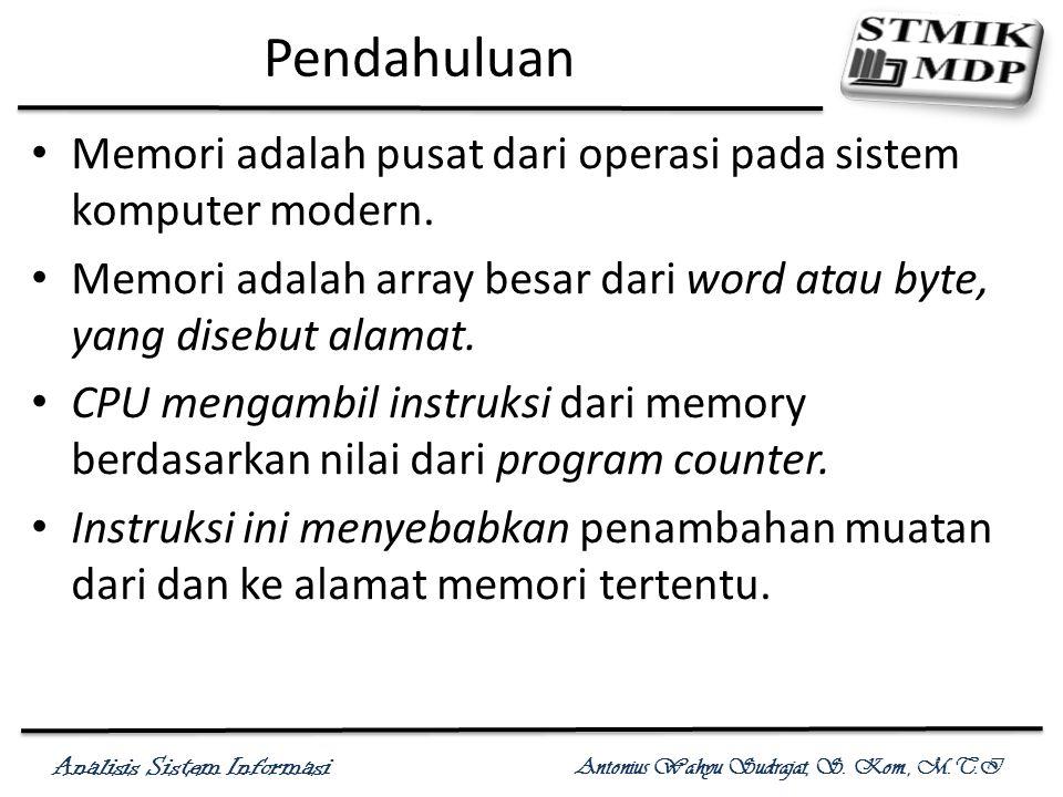 Pendahuluan Memori adalah pusat dari operasi pada sistem komputer modern. Memori adalah array besar dari word atau byte, yang disebut alamat.