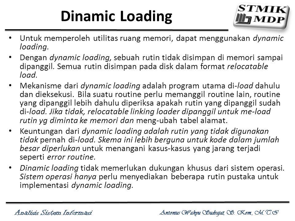 Dinamic Loading Untuk memperoleh utilitas ruang memori, dapat menggunakan dynamic loading.