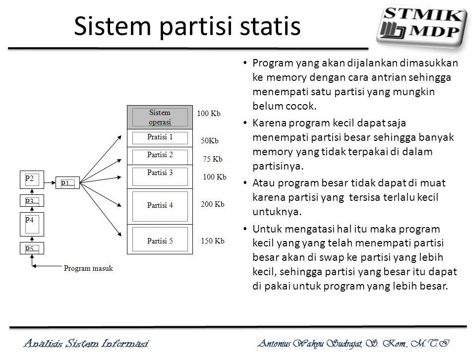 Sistem partisi statis Program yang akan dijalankan dimasukkan ke memory dengan cara antrian sehingga menempati satu partisi yang mungkin belum cocok.
