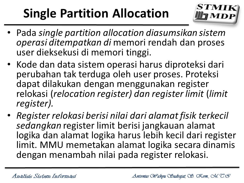 Single Partition Allocation
