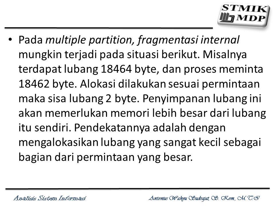 Pada multiple partition, fragmentasi internal mungkin terjadi pada situasi berikut.