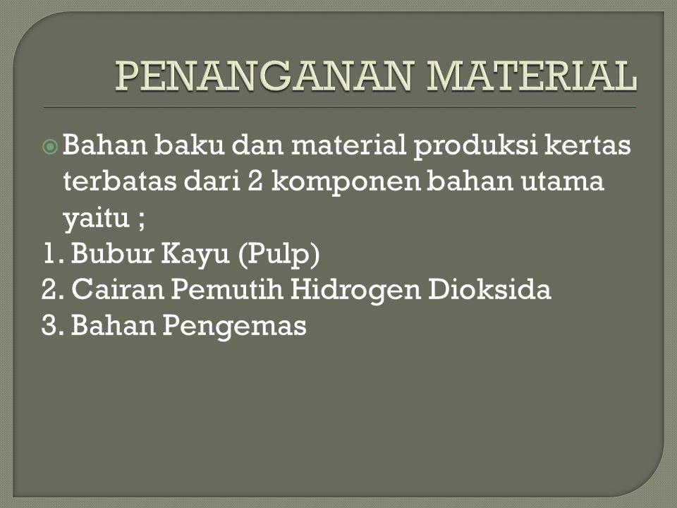 PENANGANAN MATERIAL Bahan baku dan material produksi kertas terbatas dari 2 komponen bahan utama yaitu ;