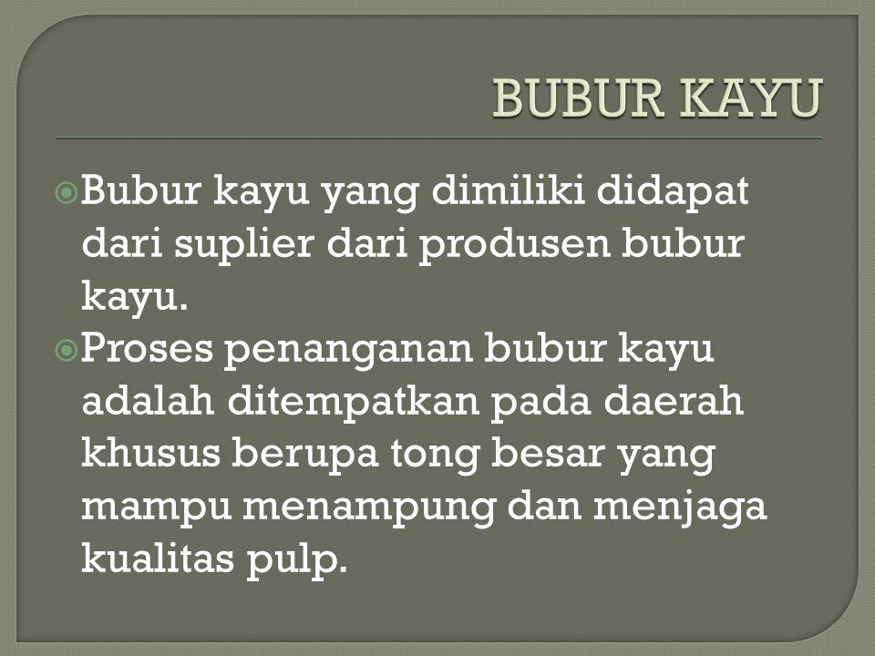 BUBUR KAYU Bubur kayu yang dimiliki didapat dari suplier dari produsen bubur kayu.