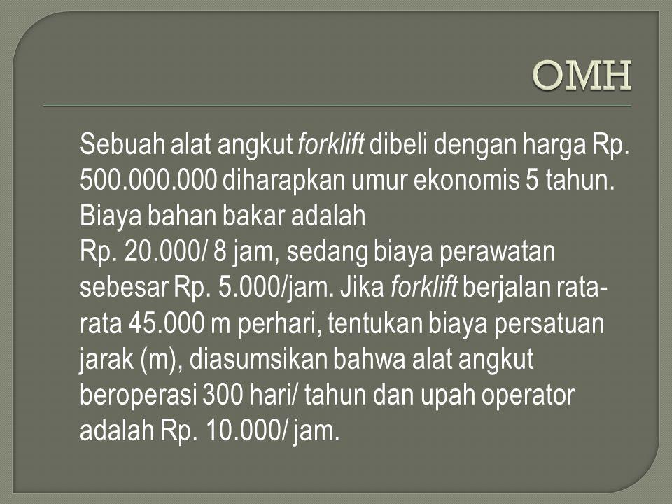 OMH Sebuah alat angkut forklift dibeli dengan harga Rp. 500.000.000 diharapkan umur ekonomis 5 tahun. Biaya bahan bakar adalah.