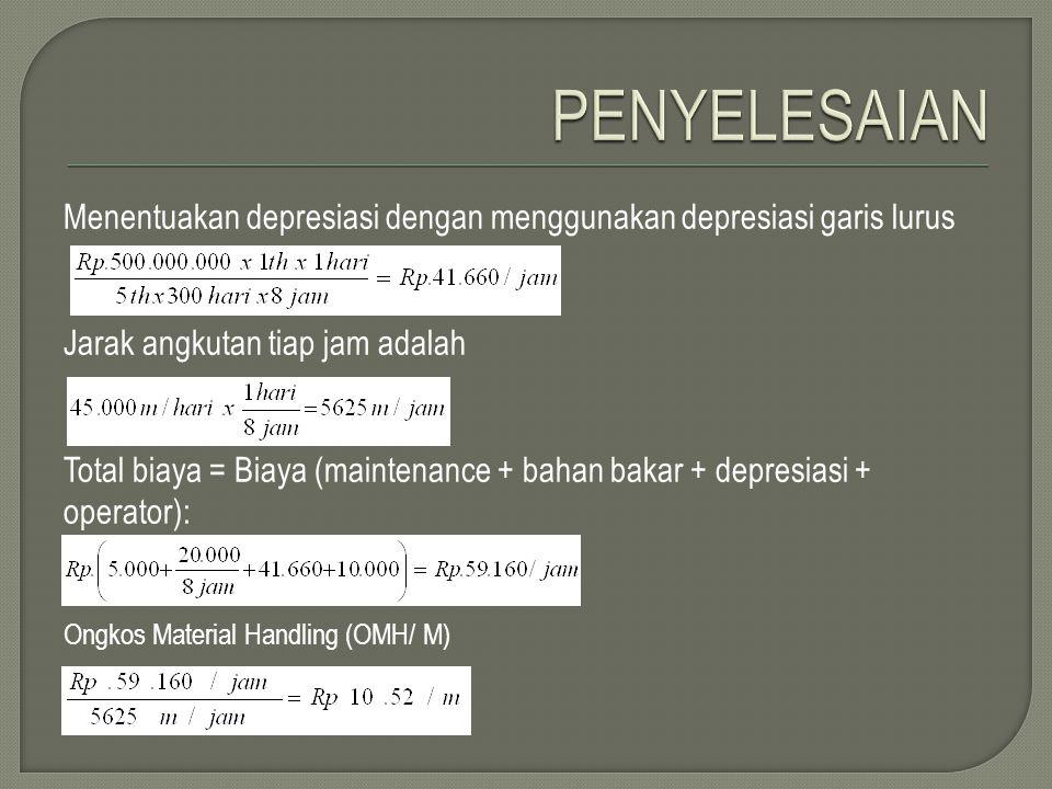 PENYELESAIAN Menentuakan depresiasi dengan menggunakan depresiasi garis lurus. Jarak angkutan tiap jam adalah.