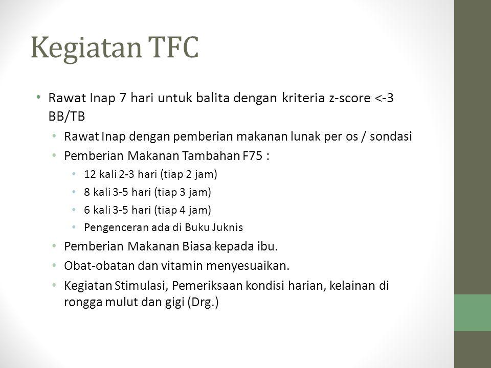 Kegiatan TFC Rawat Inap 7 hari untuk balita dengan kriteria z-score <-3 BB/TB. Rawat Inap dengan pemberian makanan lunak per os / sondasi.