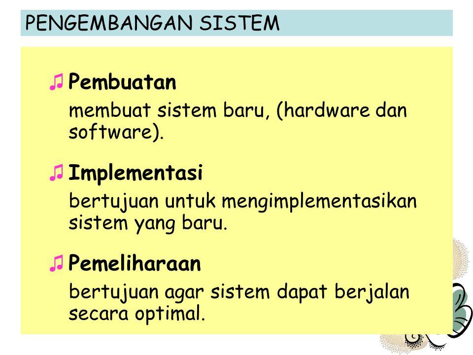 membuat sistem baru, (hardware dan software).