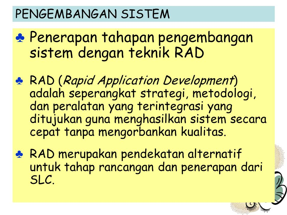 Penerapan tahapan pengembangan sistem dengan teknik RAD