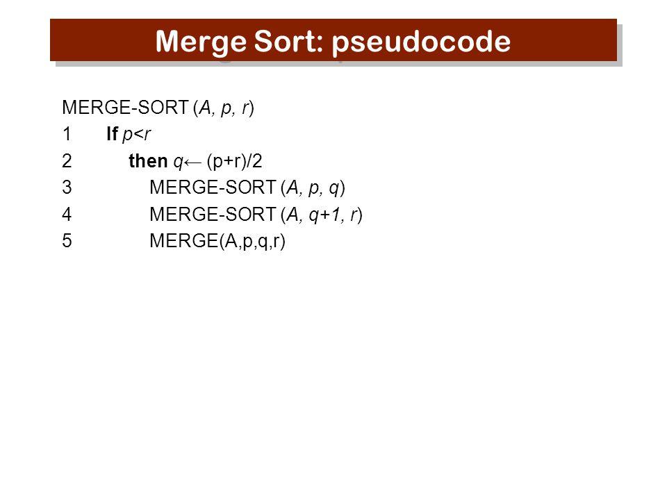Merge Sort: pseudocode