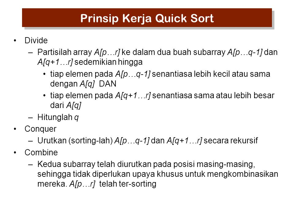 Prinsip Kerja Quick Sort