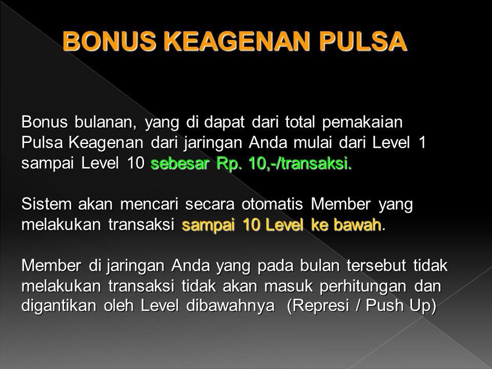 BONUS KEAGENAN PULSA Bonus bulanan, yang di dapat dari total pemakaian