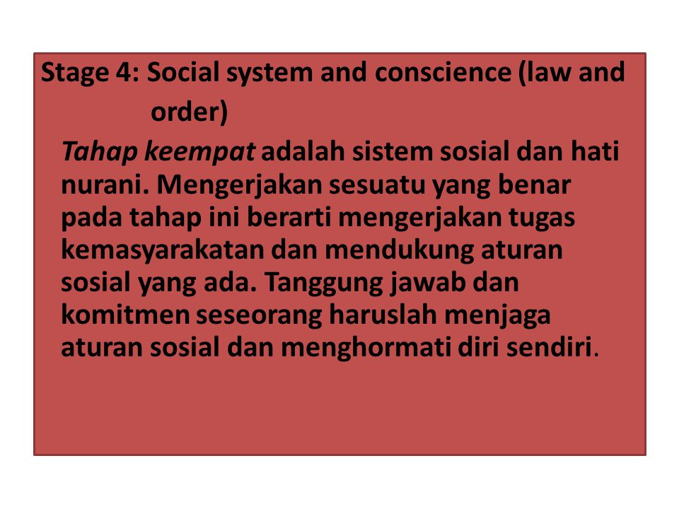 Stage 4: Social system and conscience (law and
