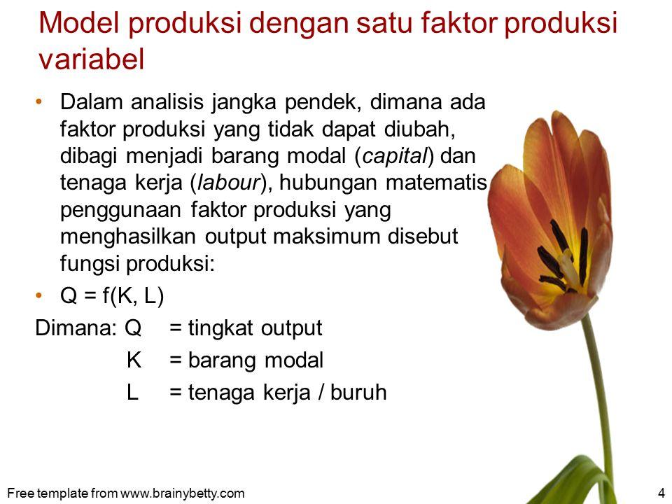 Model produksi dengan satu faktor produksi variabel