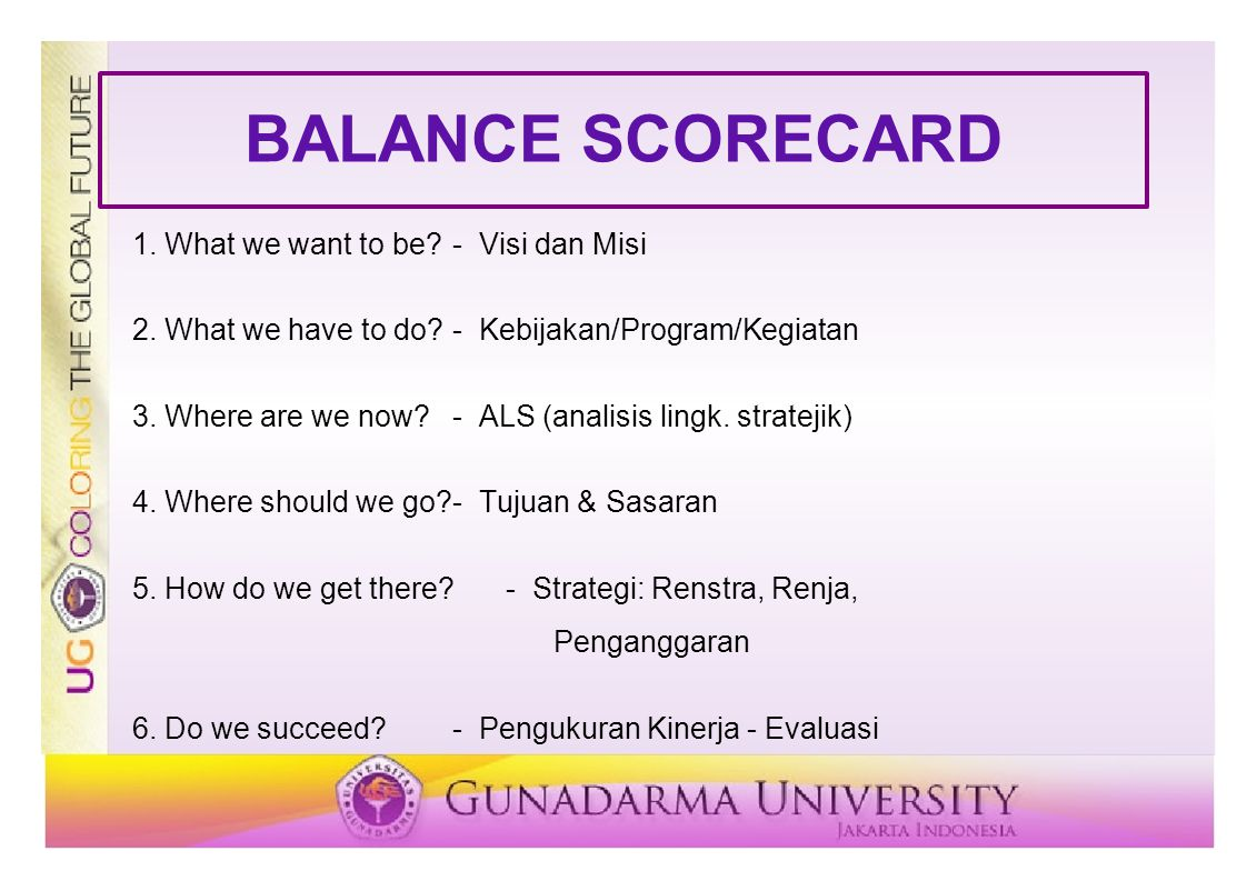 BALANCE SCORECARD 1. What we want to be - Visi dan Misi