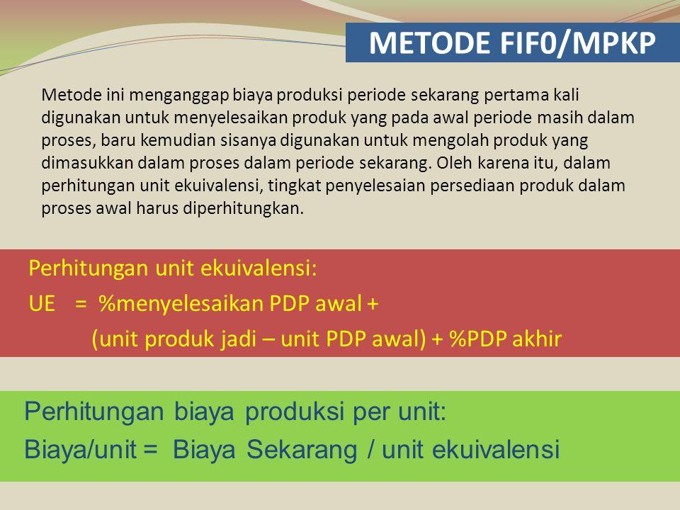 METODE FIF0/MPKP Perhitungan biaya produksi per unit: