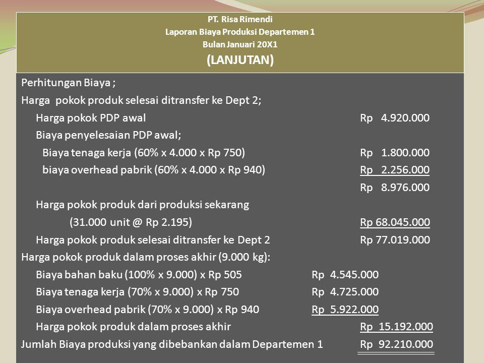 Laporan Biaya Produksi Departemen 1