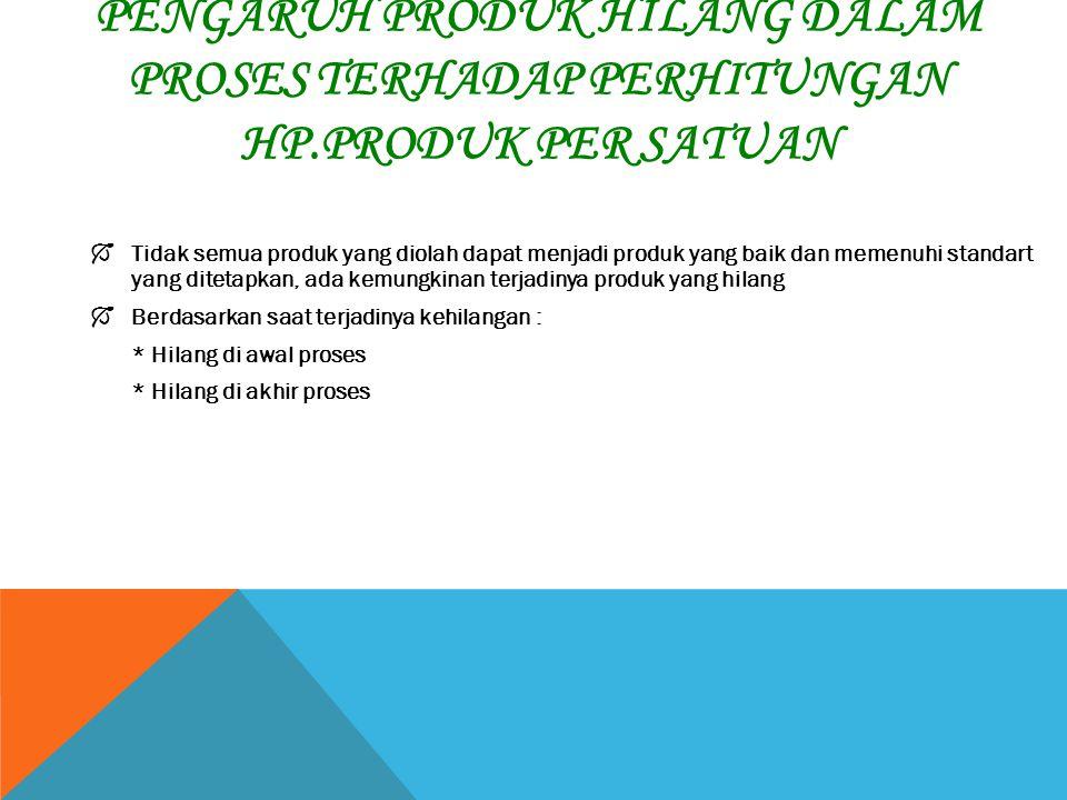 Pengaruh Produk Hilang Dalam Proses Terhadap Perhitungan HP