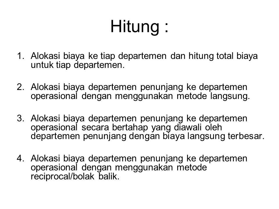 Hitung : Alokasi biaya ke tiap departemen dan hitung total biaya untuk tiap departemen.