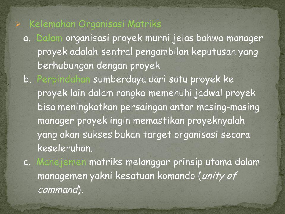 Kelemahan Organisasi Matriks