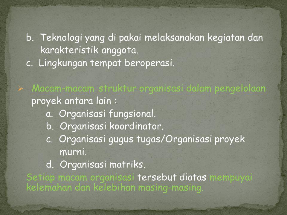 b. Teknologi yang di pakai melaksanakan kegiatan dan