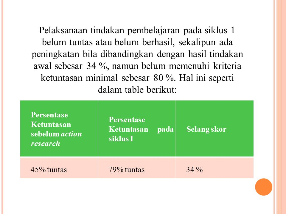 Pelaksanaan tindakan pembelajaran pada siklus 1 belum tuntas atau belum berhasil, sekalipun ada peningkatan bila dibandingkan dengan hasil tindakan awal sebesar 34 %, namun belum memenuhi kriteria ketuntasan minimal sebesar 80 %. Hal ini seperti dalam table berikut: