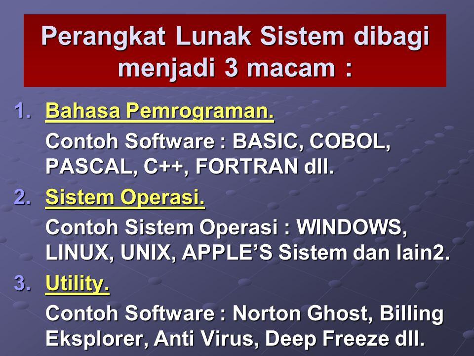 Perangkat Lunak Sistem dibagi menjadi 3 macam :