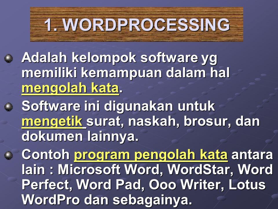 1. WORDPROCESSING Adalah kelompok software yg memiliki kemampuan dalam hal mengolah kata.