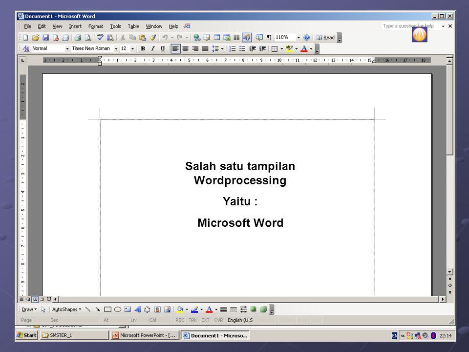 Salah satu tampilan Wordprocessing