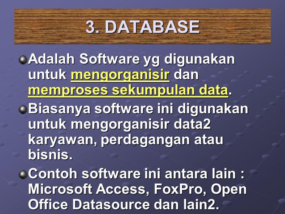 3. DATABASE Adalah Software yg digunakan untuk mengorganisir dan memproses sekumpulan data.