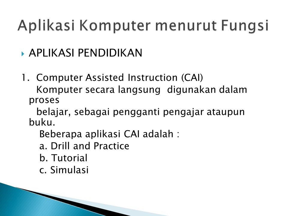 Aplikasi Komputer menurut Fungsi