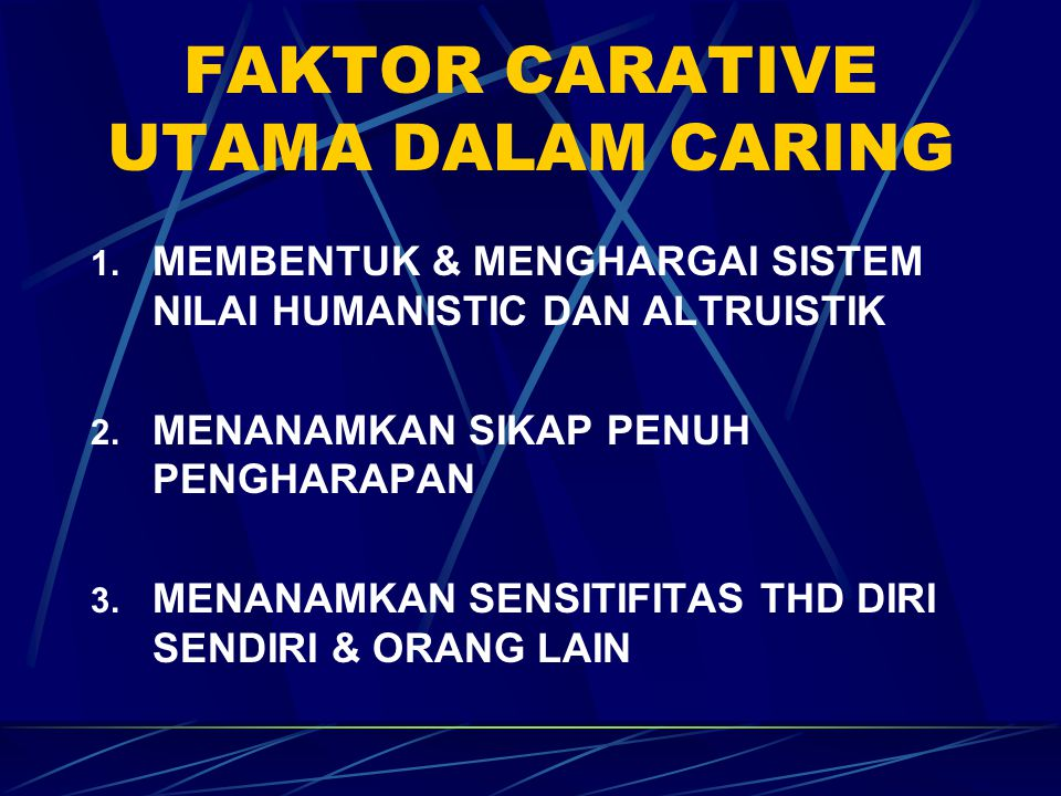 FAKTOR CARATIVE UTAMA DALAM CARING