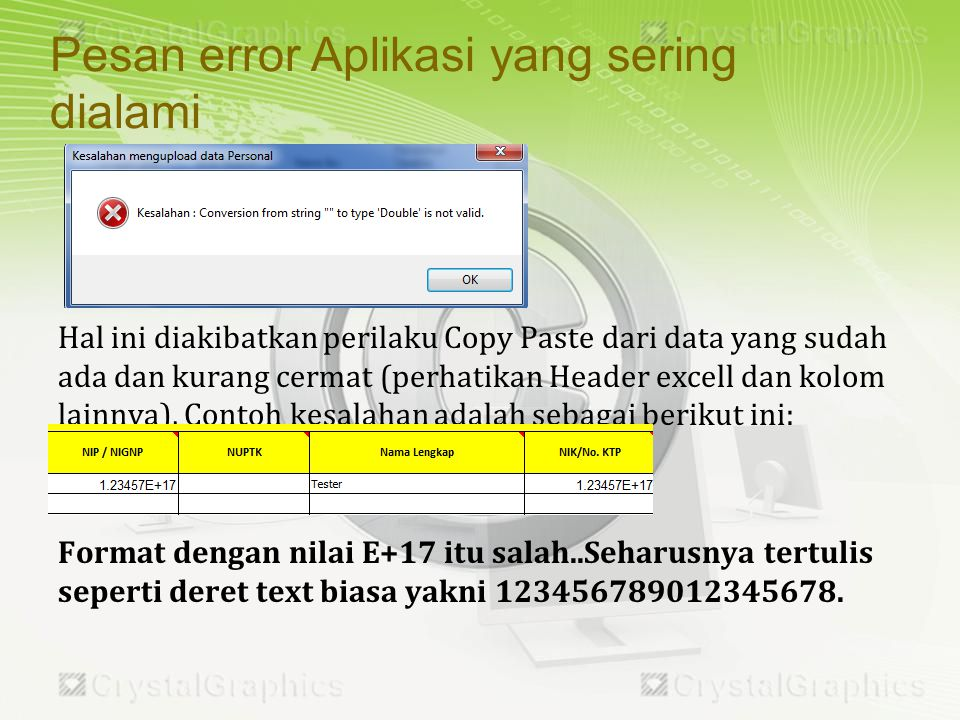 Pesan error Aplikasi yang sering dialami
