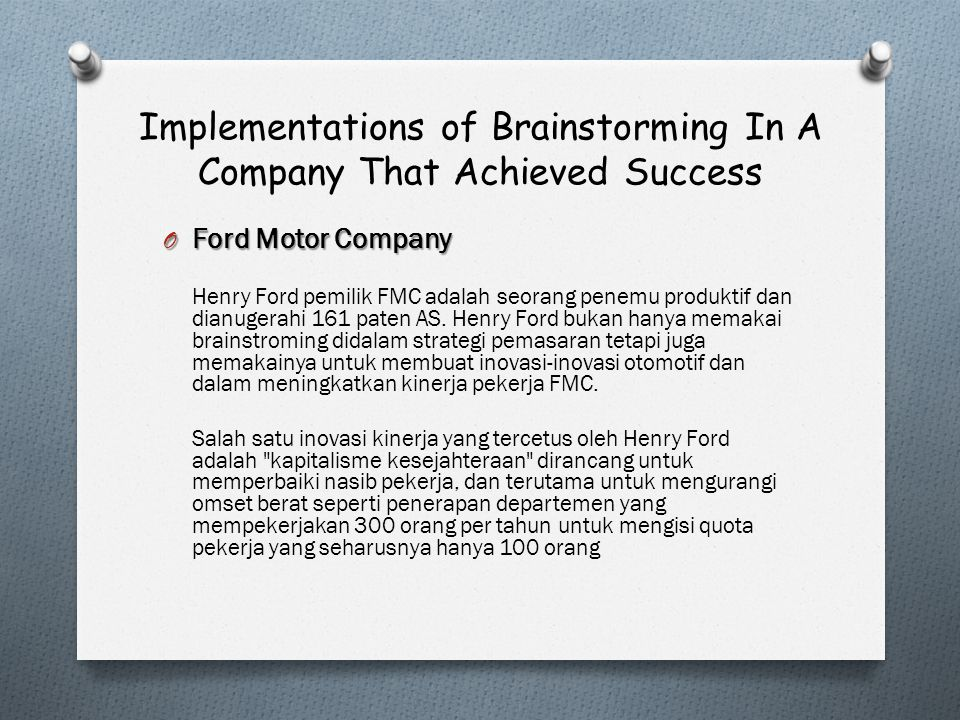 Implementations of Brainstorming In A Company That Achieved Success