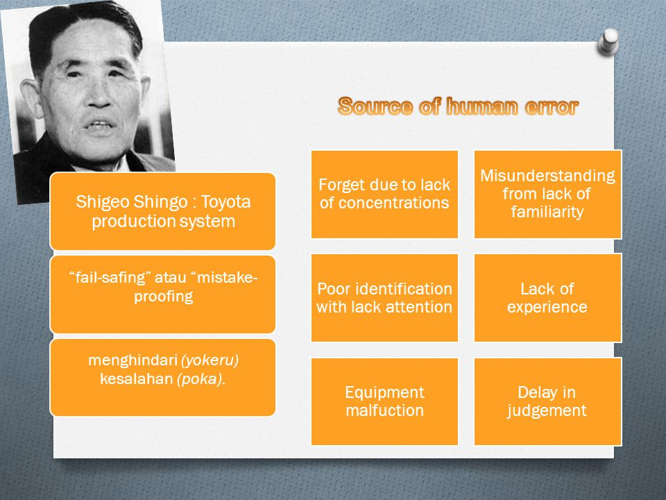 Source of human error Shigeo Shingo : Toyota production system