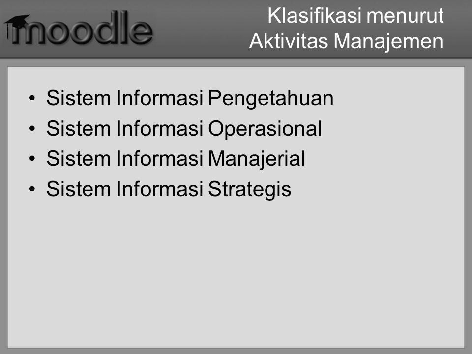 Klasifikasi menurut Aktivitas Manajemen