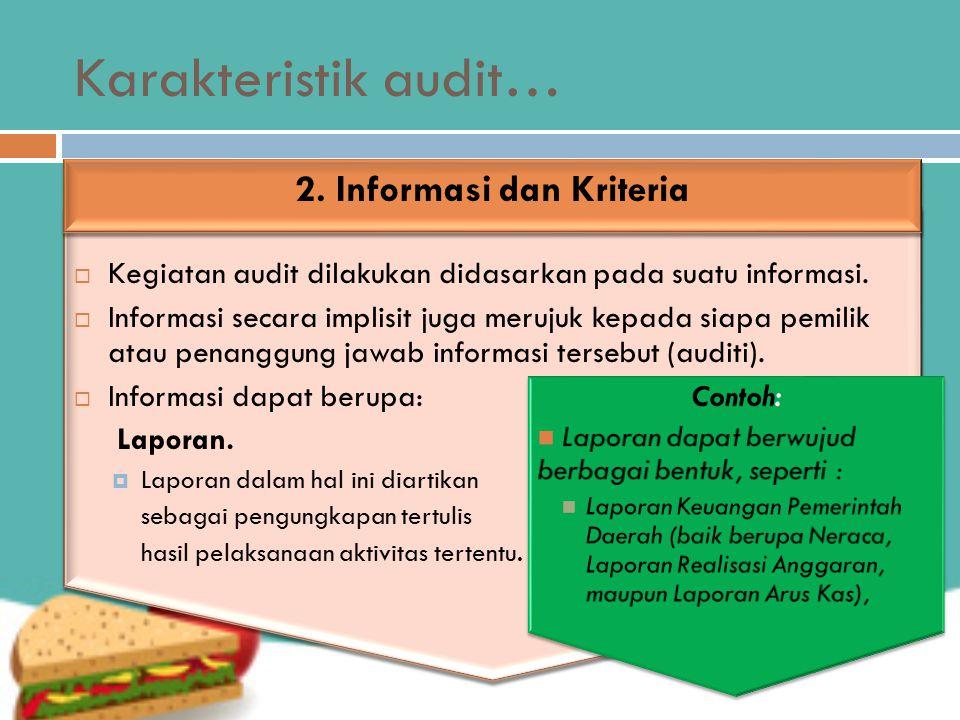 2. Informasi dan Kriteria